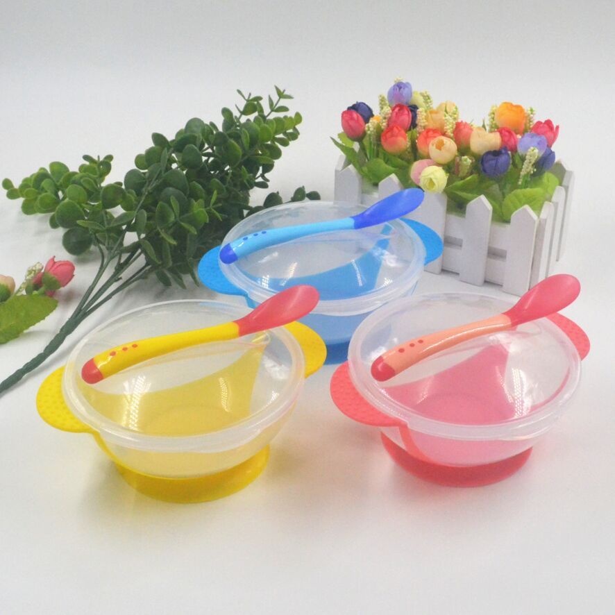 Child Tableware Spoon Food Try Use Learning Eat Dishes Service Plate/Tray Suction Cup Baby Dinnerware Temperature Sensing Bowl
