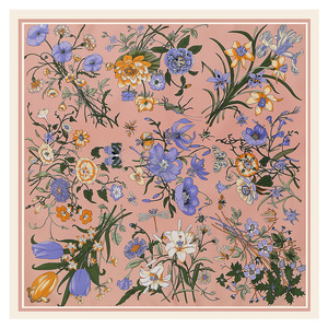 Image 4 - LESIDA écharpe carrée en soie Pure pour femmes, grands châles en Design floral, écharpe carrée, bandana, 130x130CM
