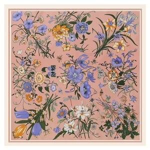 Image 4 - Lesida lenço de seda pura mulheres grandes xales flor design quadrado cachecóis echarpes foulards femme bandanas envoltório 130*130cm