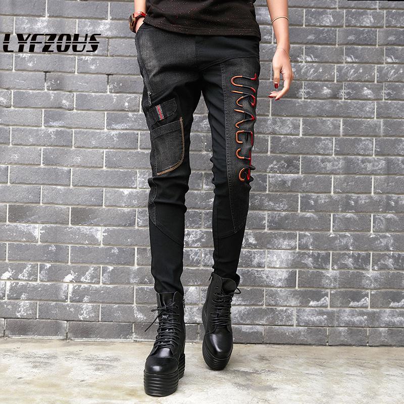 Vintage Black Jeans Women Alphabet Embroidery Pencil Pants Street Hip Pop Patch Designs Trouser Jeans