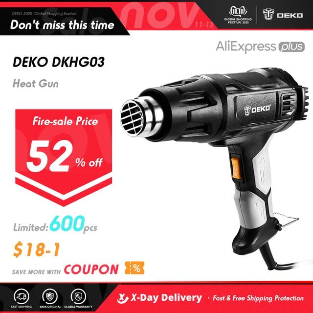 بندقية حرارية DEKO DKHG02 220 فولت 3 درجة حرارة قابلة للتعديل 2000 واط مسدس هواء ساخن كهربائي متقدم مع أربعة فوهة مرفقات أداة طاقة