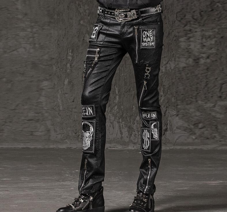 Steampunk Pant Men Trouser Long Skull Embroidery Punk Vintage