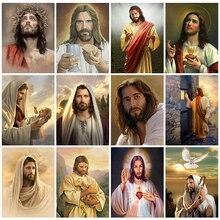 Huacan 5D Diy elmas mozaik satış İsa kitleri elmas boyama portre resimleri Rhinestones el yapımı hediye