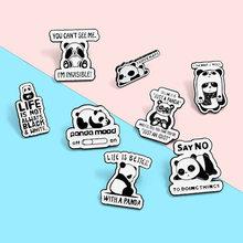 Broche de oso Panda de dibujos animados para hombre y mujer, broche esmaltado con Pin para bolsa y Collar, insignia, Pines, accesorios de joyería