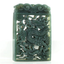 100% authentic hetian green jade pendant two side handcarved dragon jade pendants necklaces jade gift men women jade jewelry(China)