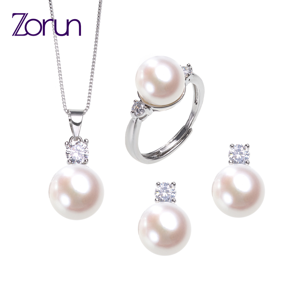 Zorun Real Natural Freshwater Pearl Sets Fashion/Fine  Jewelry 10MM with 18K  White Gold filled Accessories for Women New Design