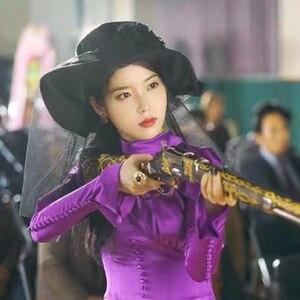 Image 3 - Mor Elbise kadınlar için DEL LUNA Otel aynı IU Lee Ji Eun sonbahar mizaç kadın elbise bahar