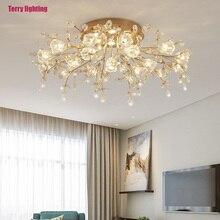 Candelabro de cristal con diseño de decoración moderna, lámpara LED de techo para sala de estar, Iluminación del pasillo, cocina y dormitorio