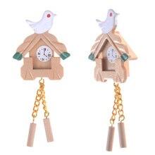 Dollhouse Mini Clock Children Furniture Wood Decor 1:12 Bird Simulation-Bird