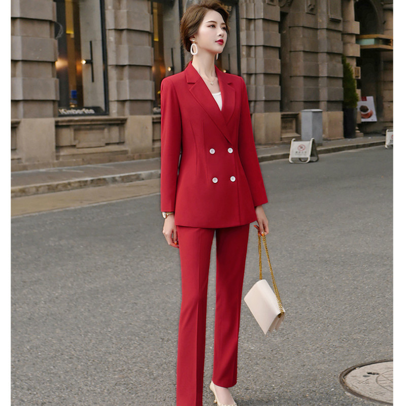 2020 New Spring And Autumn High-quality Red Professional Women's Pants Suit Feminine Fashion Jacket Casual Trousers Two-piece