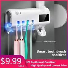 Solar Powered UV Toothbrush Sanitizer Holder Sterilizer Toothpaste Dispenser Nail-free Wall Mounted Bathroom Toothbrush Storage