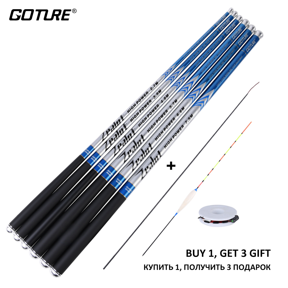 Goture Zealot Carbon Fiber Telescopic Fishing Rod 2.7-7.5m Stream Hand Pole Carp FeederFishing Rods with 3 free gift