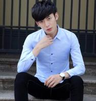 2018 autumn and winter new men's shirts long sleeves, slim body, lapel shirt, pure color youth DY 210
