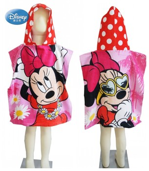 Disney bonito rosa minnie mickey mouse bebê com capuz toalha de banho para praia piscina banho absorvente algodão toalha de poncho