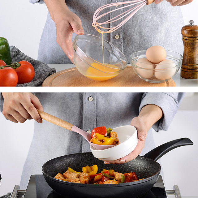 Rosa cozinhar utensílios de cozinha ferramenta de silicone com alça multifuncional de madeira antiaderente espátula concha ovo batedores pá 2