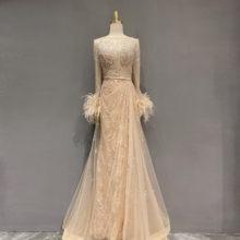Коллекция couture 2020 серые мусульманские Вечерние Платья Стразы