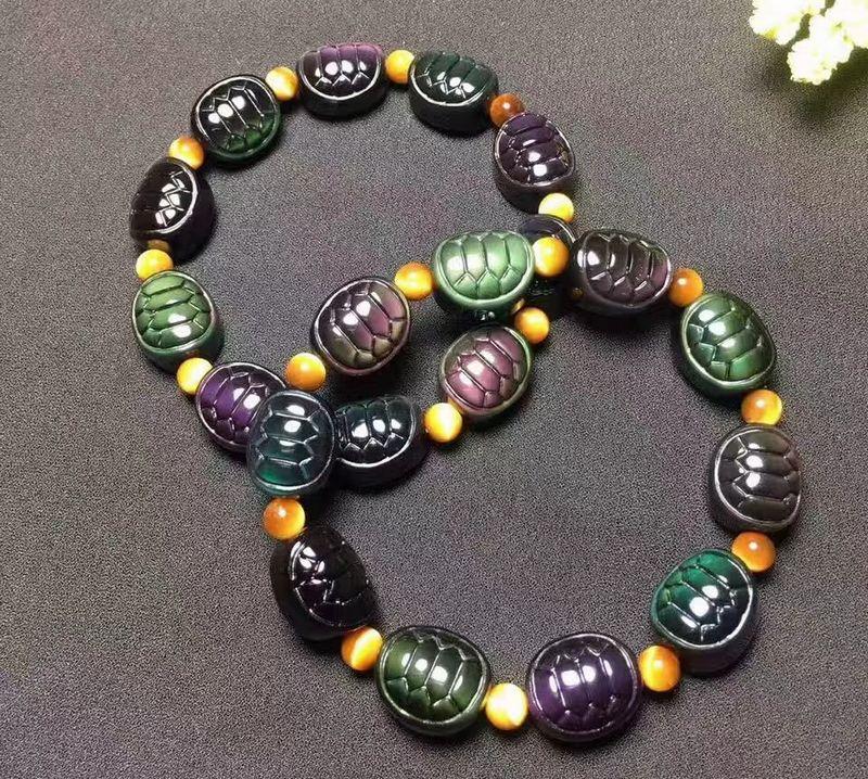 Натуральный разноцветный браслет из обсидиана Carven браслет с черепахами talisman