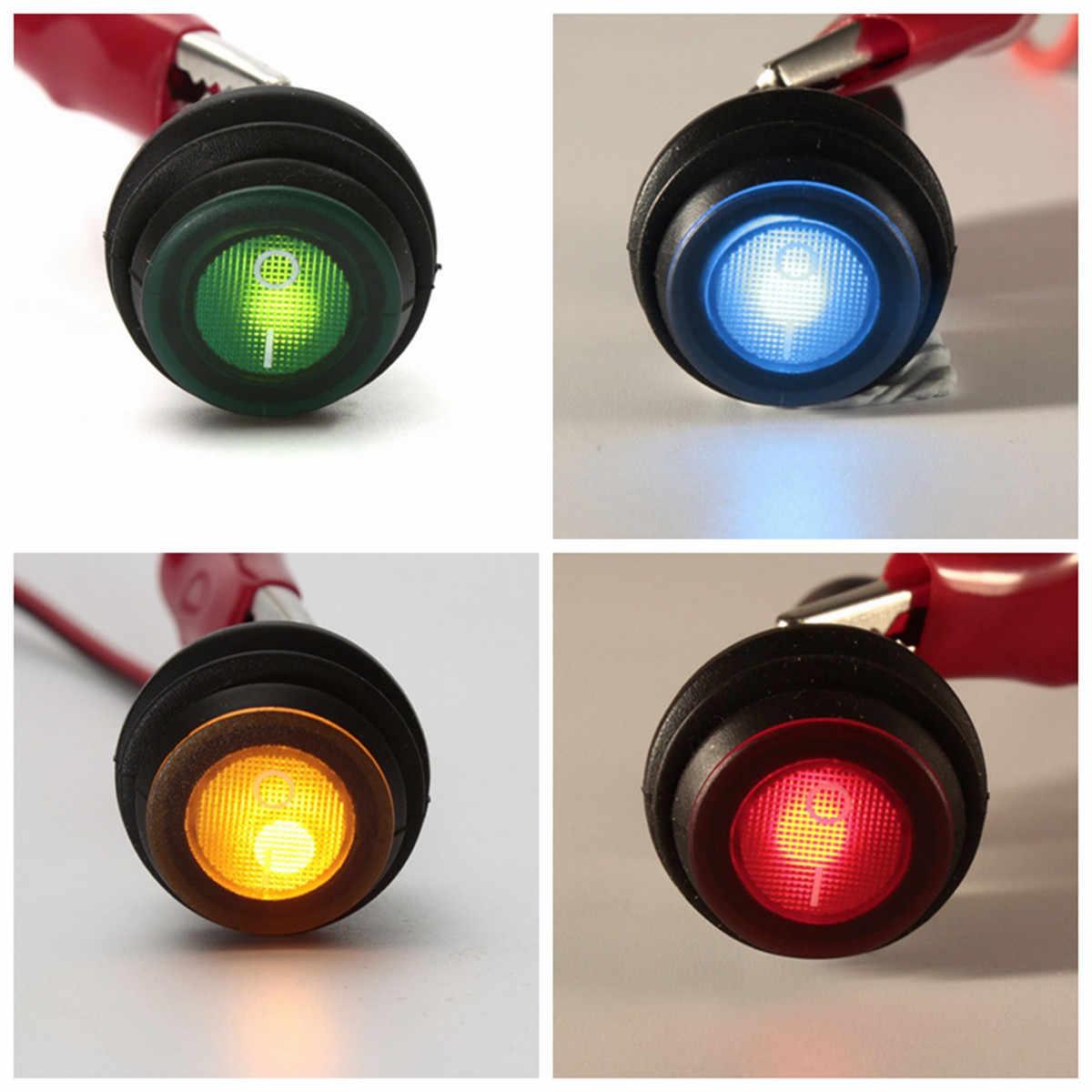 6/10 Uds. 12V 24V LED redondo interruptor basculante encendido/apagado Azul Rojo verde amarillo interruptores oscilantes impermeables para coche barco marino