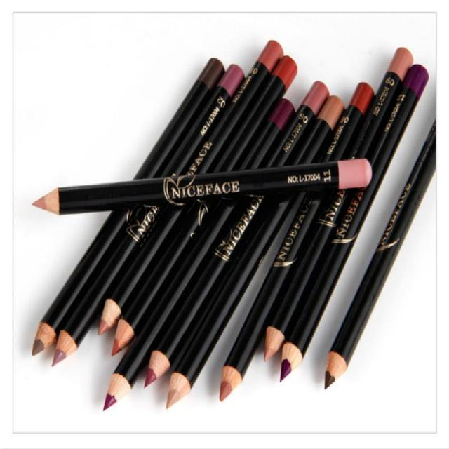 12 Colors Fashion Lip Pencils Matte Lipliner Waterproof Smooth Colorful Silk Nude Lipstick Pen Long Lasting Pigments Lip Makeup