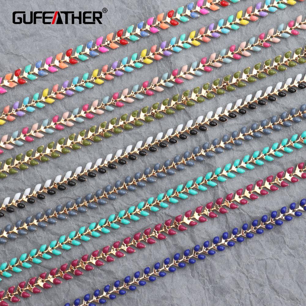 GUFEATHER C48, jóias e acessórios, cadeia de bricolage, feitas à mão, 18k banhado a ouro, fazer jóias, diy colar, colar para as mulheres, 1 m/lote
