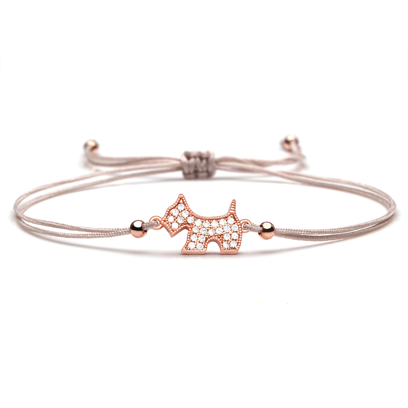 White Cubic Zirconia Lovely <font><b>Dog</b></font> Charm <font><b>Bracelet</b></font> Women Kid Cute Animal Pet <font><b>Dog</b></font> CZ Black Orange Red Green String Jewelry Present image