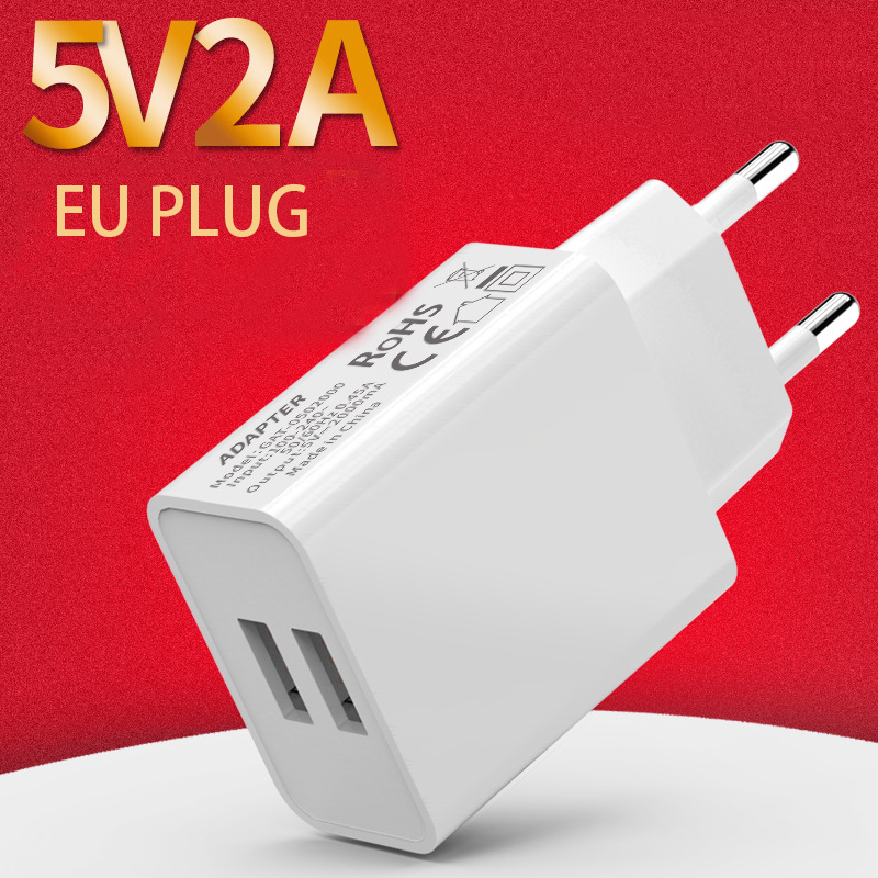 USB Charger 2A Charging Travel EU Plug Adapter Portable Wall Charger Mobile Phone Cable Dual USB EU Plug Charger