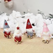 Ozdoba świąteczna boże narodzenie drewno Skate lalka bez twarzy zawieszka na choinkę ozdoby choinkowe na dom nowy rok Xmas 2020 tanie tanio baijian Bez pudełka home decor natal kerst new year decor christmas gift adornos de navidad