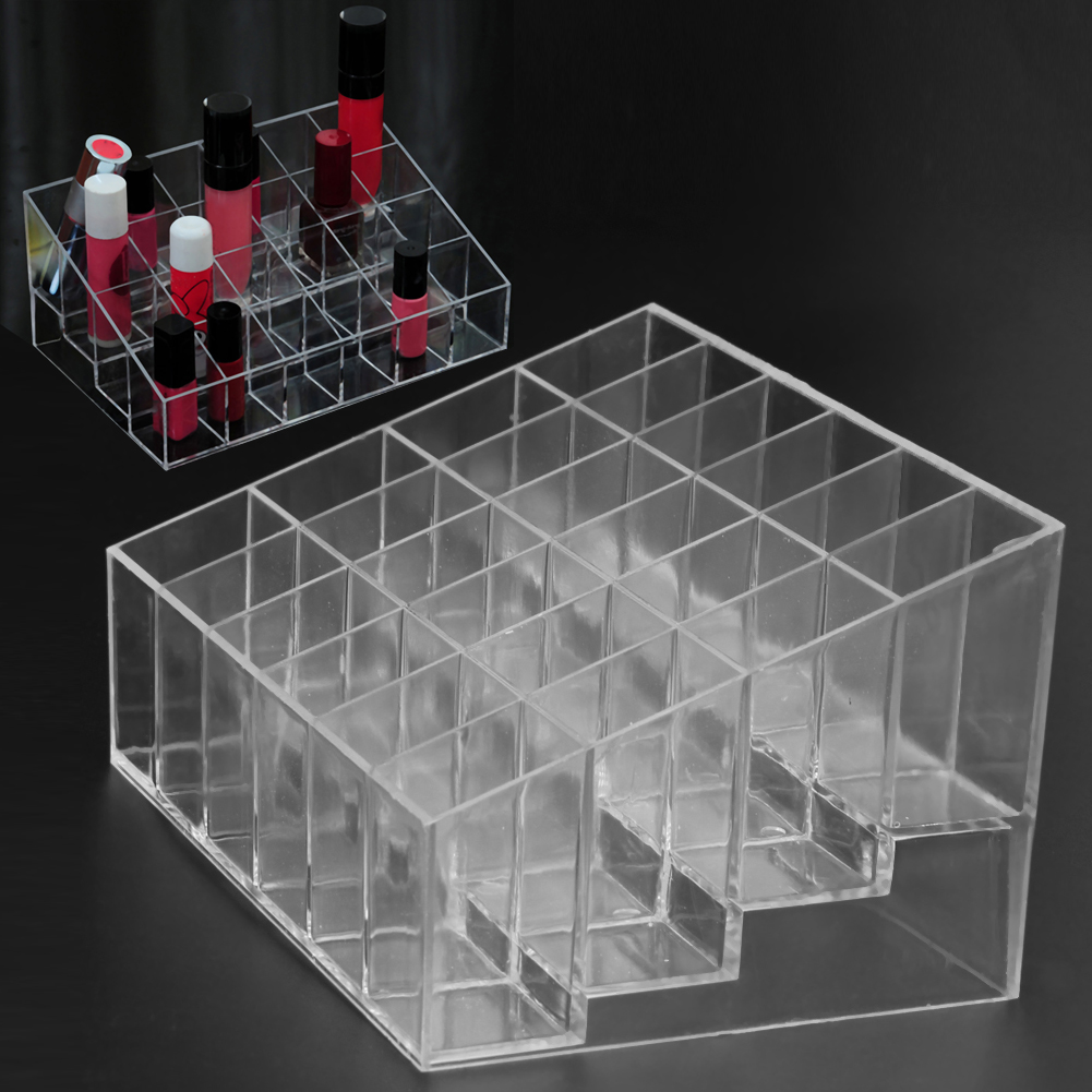 Clear Acrylic 24 Grid Makeup Organizer Storage Box Lipstick Nail Polish Display Stand Holder Cosmetic Jewelry Organizer Box Case