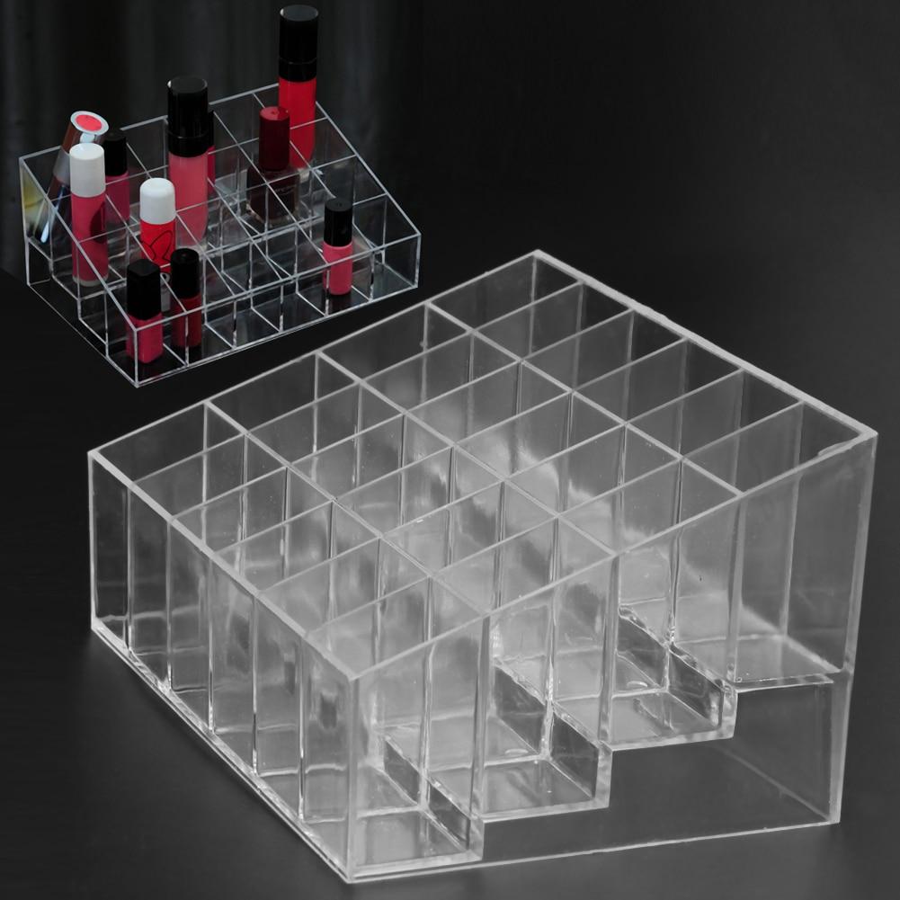 Clear Acrylic 24 Grid Makeup Organizer Storage Box Lipstick Nail Polish Display Stand Holder Cosmetic Jewelry Organizer Box Case