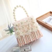 2019 autumn new style women's bag, fairy, pink pearl bag, single shoulder shoulder bag, tassel chain bag.