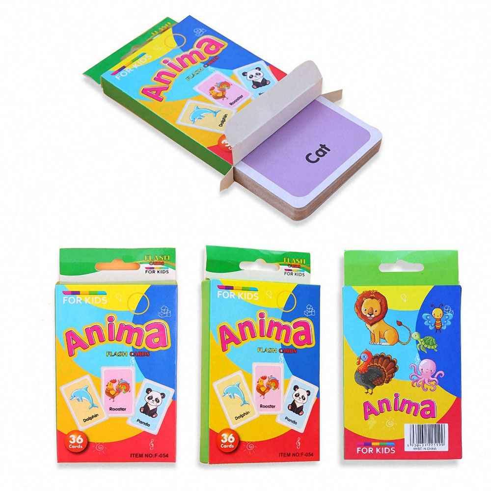 36 Uds niños reconocimiento forma Animal Color Tarjeta de enseñanza cognitiva Flash Puzzle Infantil Educación Temprana juguete de aprendizaje