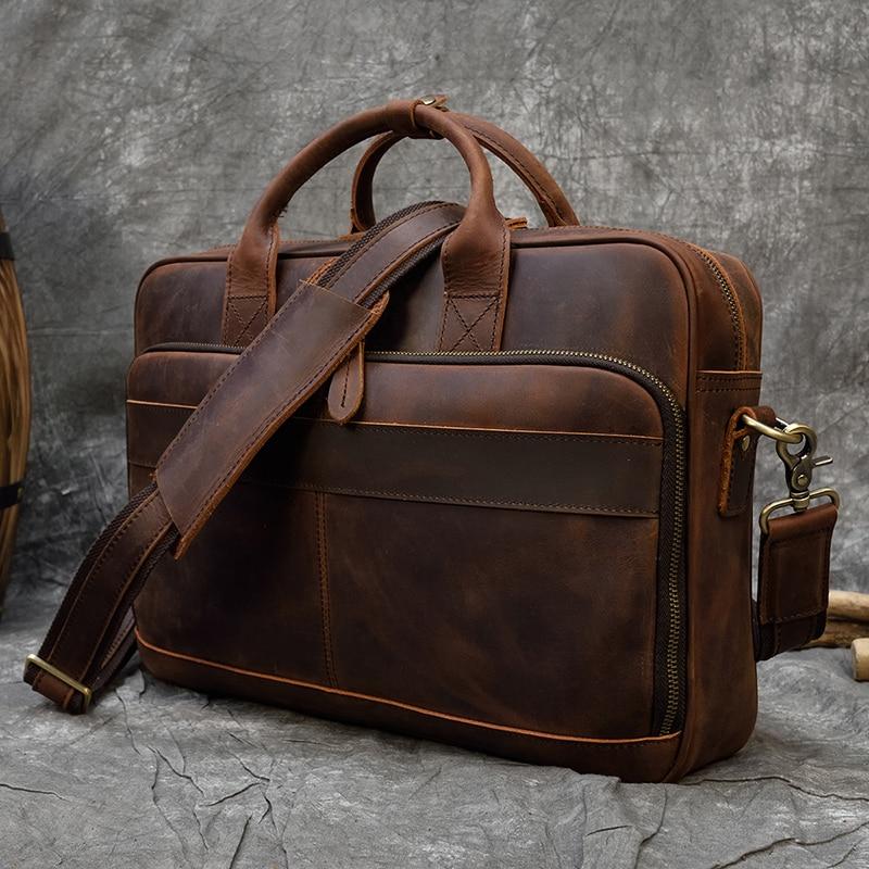 "H71c527e4ebf54498acb1dbb05bc3a5fcG MAHEU Men Briefcase Genuine Leather Laptop Bag 15.6"" PC Doctor Lawyer Computer Bag Cowhide Male Briefcase Cow Leather Men Bag"