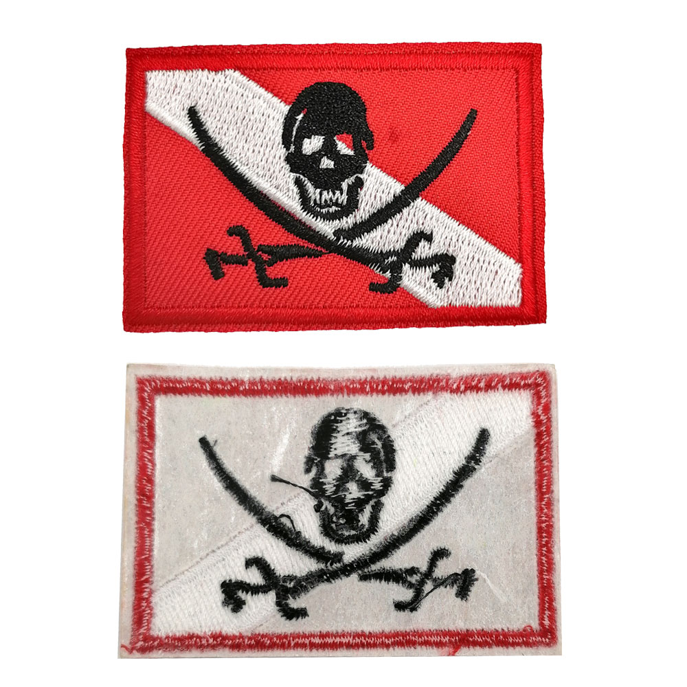Scuba Diving Flag Patch Diver Down Flag Badge Diving Gift Embroidered Iron-On Patch For Diver Gear Bag Backpack Clothes Hat DIY