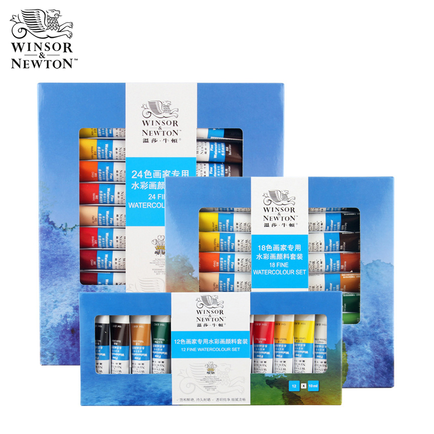 Winsor&Newton 12/18/24Color Watercolor Set Professional Water Color Paint For Student Drawing Paintingfor Art Paint Supplies