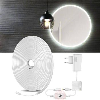 Elastyczne neonowe podświetlenie LED światło lustrzane Vanity Makeup Lights DC 12V dotykowy ściemniacz łazienkowy kinkiety tanie i dobre opinie Lcamaw CN (pochodzenie) Touch make up light 12 v
