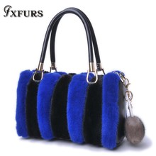 2019 New Imported Mink Tail Fur Handbag with Cofskin Bag Single-shoulder Cross-body Winter Female Leather Wrist Bags