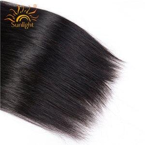 Image 5 - Luz solar brasileiro feixes de cabelo reto com fechamento 5x5 fechamento do laço com 3 pacotes 4 pçs remy feixes de cabelo humano com fechamento