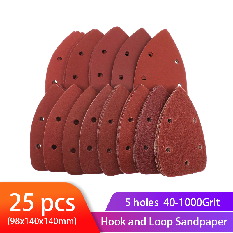 25pcs Self-adhesive Sandpaper Triangle Sander Sand Paper Hook Loop Sandpaper Disc Abrasive Tools For Polishing Grit 40-1000