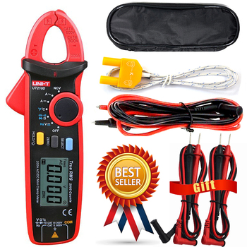 UNI-T UT210D Digital Clamp Meter Multimeter Handheld RMS AC/DC Resistanc With Temperature,Send Two Test Lines. uni t lcd ut61c ut 61c handheld modern digital multimeter ac dc meter