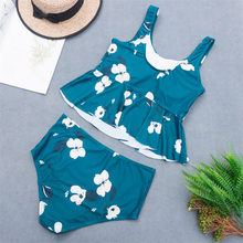 Ruffle Summer Floral Deep V-neck Halter Two-piece Swimsuit Sexy Backless Lace Up Women Monokini 2020 Beach Bathing Suit Swimwear(China)