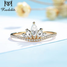Kuololit Moissanite 585 10K 14K Solid yellow Gold Ring for Women Luxury Diamonds Ring for Vintage Engagement Bridal wedding gift(China)