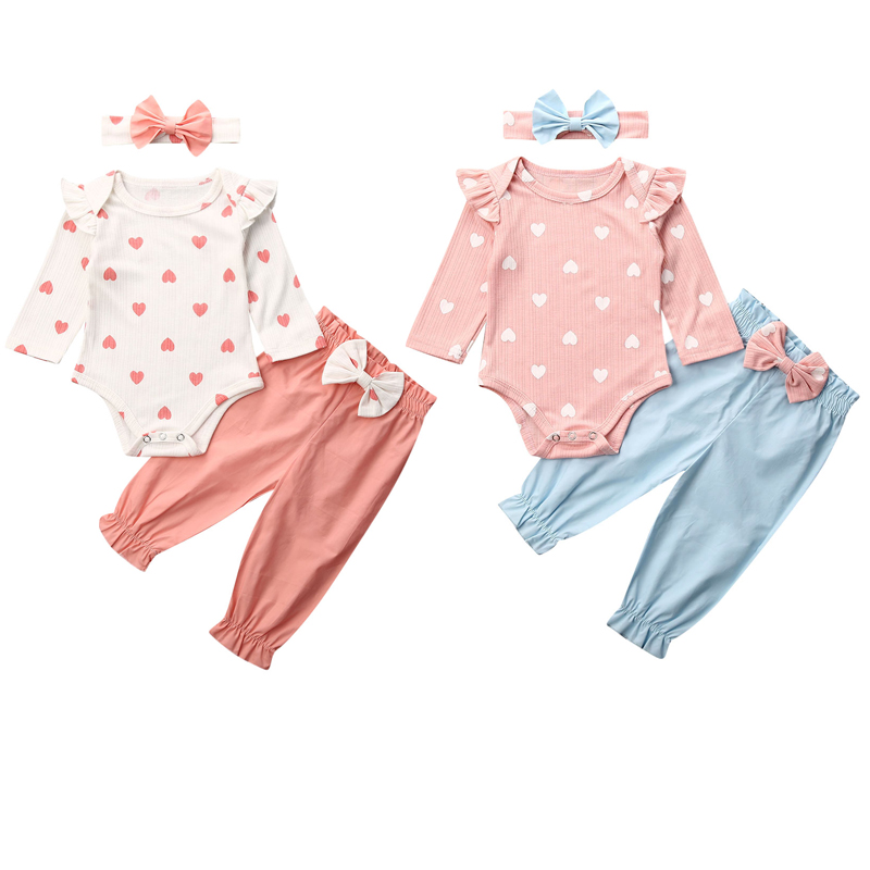 3PCS Infant Baby Girls Outfit Set Floral Long Sleeve Tops+Pants Headband Clothes