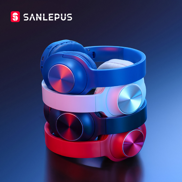 SANLEPUS سماعة رأس بلوتوث لاسلكية ، سماعة رأس استريو محمولة مع ميكروفون للموسيقى لأجهزة iPhone و Samsung و Xiaomi
