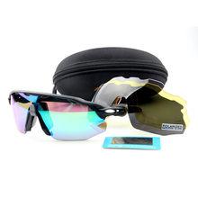 Venda quente esportes polarizados ciclismo óculos de sol ao ar livre óculos de bicicleta dos homens das mulheres esportes ciclismo 4 lente com caso