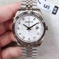 Новые полки для мужчин дата просто серебро компьютерная версия циферблат 41 мм Дата Новинка Пряжка алмазные сапфировые наручные часы