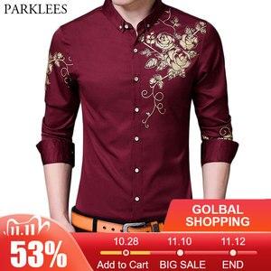 Image 1 - Brand Wine Red Mens Dress Shirts 2018 Fashion Golden Rose Flower Print Button Down Shirt Men Slim Fit Long Sleeve Chemise Homme