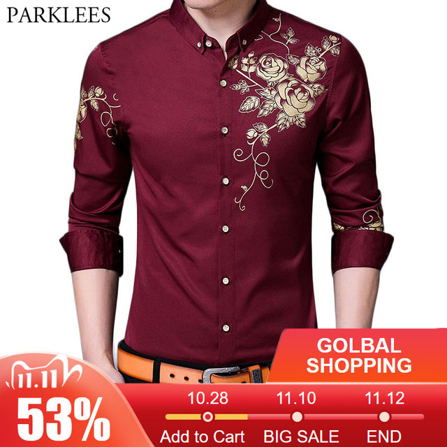 Brand Wine Red Mens Dress Shirts 2018 Fashion Golden Rose Flower Print Button Down Shirt Men Slim Fit Long Sleeve Chemise Homme