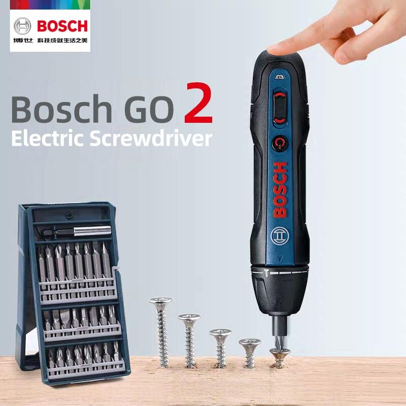 Destornillador eléctrico Bosch Go2, destornillador automático recargable, taladro manual Bosch Go 2, herramienta eléctrica multifunción por lotes