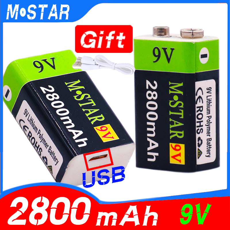 High Capacity USB Battery 9V 2800mAh Li-ion Rechargeable Battery USB Lithium Battery For Toy Remote Control Drop Shipping