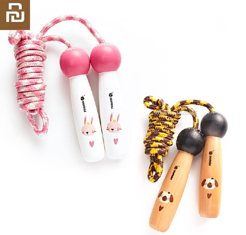 Youpin NEW Bravokids Child Wooden Handle Cartoon Skipping Rope Pupils Kindergarten Game Adjustable Jump Rope Sports Fitness